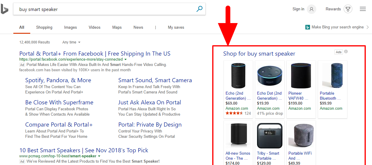Bing shopping ads